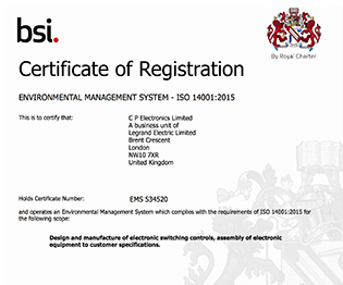 CP electronics - ISO 14001:2015 certificate