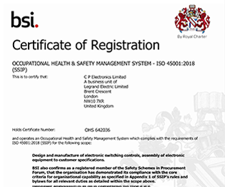 CP electronics - ISO 45001:2018 certificate