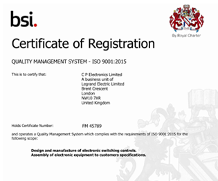 CP electronics - ISO 9001:2015 certificate