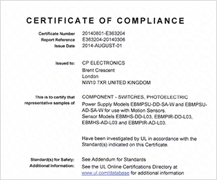 CP electronics - UL Certificate of Compliance 1