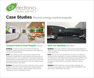 CP electronics - Energy Control Case Studies